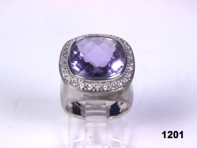 Front view of Modern fine cushion cut chunky Amethyst and CZ 925 sterling silver from Antiques of Kingston. Size P / 13.
