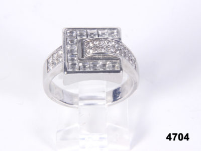 Front view of Silver and cubic zirconia buckle Ring (Not hallmarked) from Antiques of Kingston.