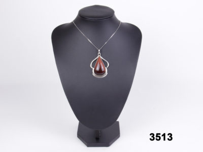Sterling silver fine box chain necklace with an unusual golden-red hardstone pendant from antiques of kingston