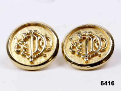 Vintage Christian Dior signature monogram clip-on earrings 25mm in diameter. anntiques of kingston