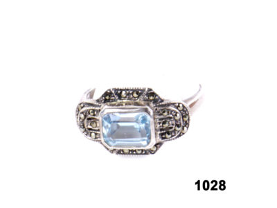 Front view of Art Deco style sterling silver ring with pale blue stone & marcasite from Antiques of Kingston.