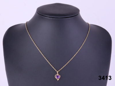 9 carat gold necklace with a small 9 carat gold and amethyst pendant from Antiques of Kingston