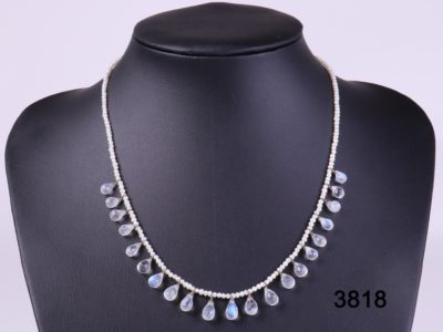 Natural pearl necklace with rainbow moonstone droplets and sterling silver clasp from Antiques of kingston
