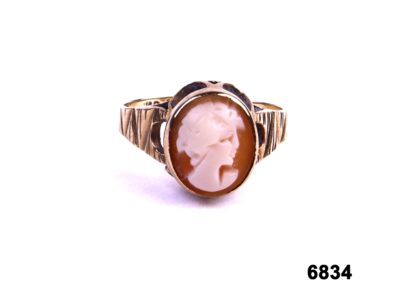 London assayed 9 carat Gold cameo ring from Antiques of Kingston