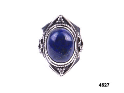 Chunky sterling silver lapis lazuli ring Size R½/9¾ Main photo showing front of ring