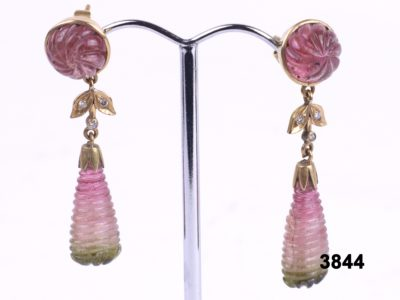 18 carat Gold drop earrings with carved tourmaline and small diamonds at antiques of kingston
