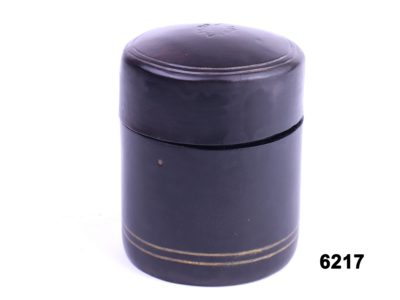 Vintage Italian leather cylindrical vesta case main side view