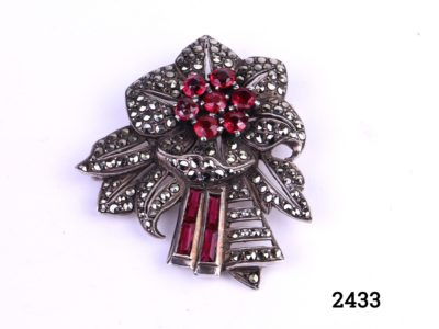 Vintage Silver & marcasite brooch in Art Deco style with rose red paste stones and in the form of a flower No visible hallmark but tests for silver Main photo of the front of brooch