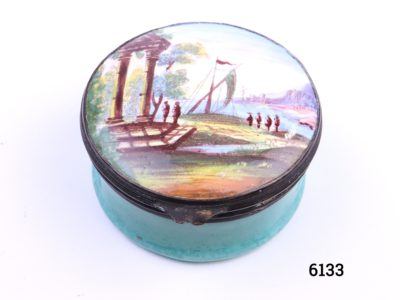 c1870 Antique French enamel patch box Patch boxes were used as receptacles for beauty patches most popular in the 18th century Hand-painted waterside scene with Oriental figures (Some signs of wear to enamel on the base as shown) Measures 41mm in diameter Main photo showing the hand-painted lid