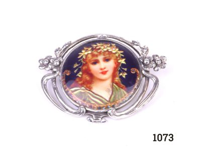 925 Sterling silver and hand-painted enamel brooch with portrait of a Pre-Raphaelite lady Main photo front of brooch