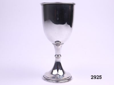 London assayed silver cup with gilt interior Fully hallmarked for sterling silver c1946 by A Taylor & Son Measures 52mm in diameter at base & 60mm across the top Main photo showing cup from full side view