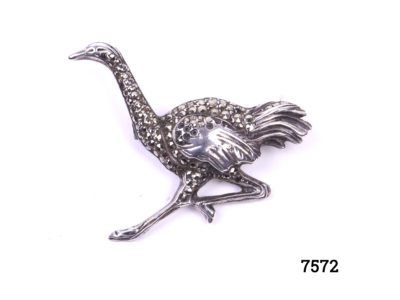 Sterling silver ostrich brooch with marcasite.  Ostrich in full running pose Hallmarked Efor sterling Germany Main photo of front of brooch