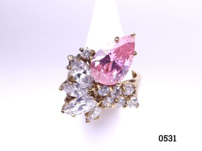 Gold on silver statement ring with pink & white crystals from antiques of kingston