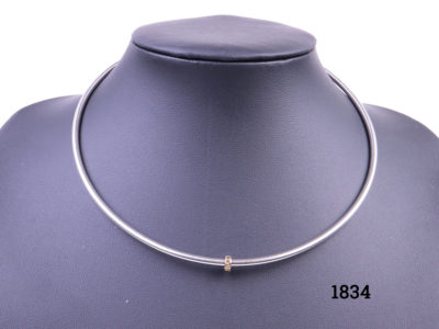 Diana Porter choker style necklace in hallmarked sterling silver with a 22 carat gold spirit bead charm Necklace width opening 127mm and depth 120mm