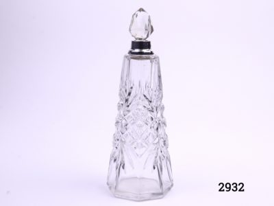 Silver necked scent bottle with crystal stopper c1925 London assayed Made by Henry Perkins & Sons Measures 62mm in diameter at base Main photo showing whole perfume bottle with stopper in place
