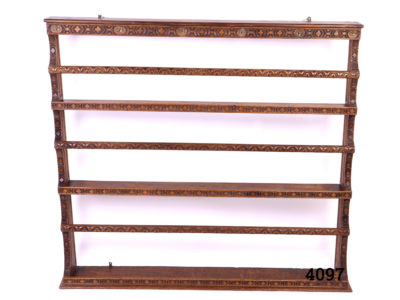 Vintage 3 Shelf plate rack with intricate carved design and graduated shelving. Wall mounted. Shelf depths Top 96mm, Middle 101mm, Bottom 165mm Main photo showing entire shelf from the front