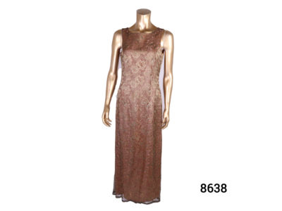 Vintage lace Valentino dress Long sleeveless dress with copper gold lace over pink copper lining Size 10 Main photo of dress from the front