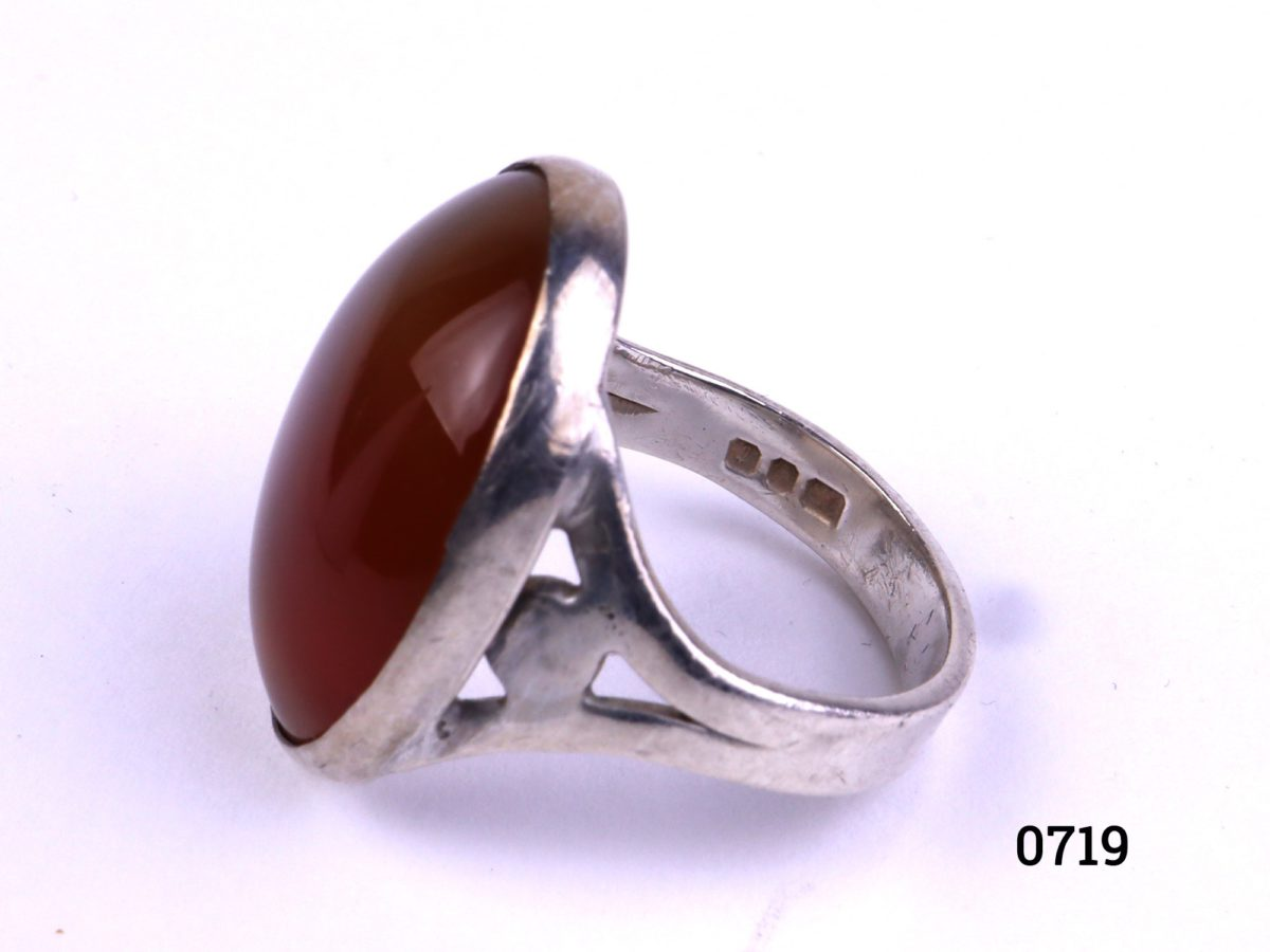 Sterling silver carnelian ring Fully hallmarked c1974 London assayed Size L / 5.75 Ring weight 5.2g Side view of ring showing hallmark on the inner band